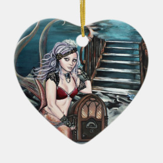 steampunk vintage mermaid where you left me ceramic heart decoration