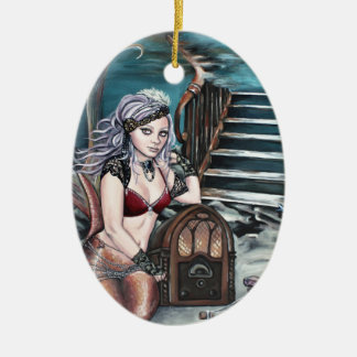 steampunk vintage mermaid where you left me ceramic oval decoration