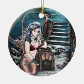 steampunk vintage mermaid where you left me christmas ornament