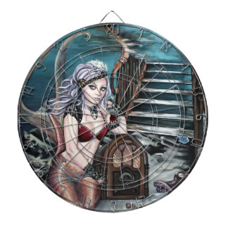 steampunk vintage mermaid where you left me dartboard