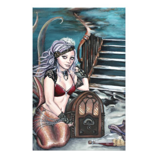 steampunk vintage mermaid where you left me stationery