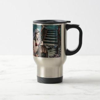 steampunk vintage mermaid where you left me travel mug