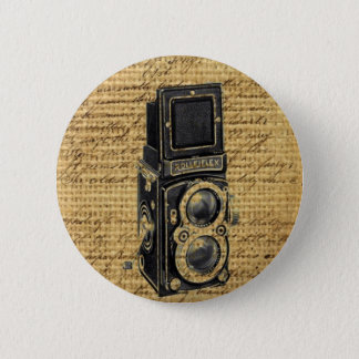 steampunk vintage scripts burlap antique camera 6 cm round badge