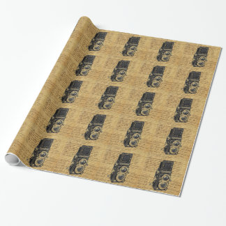 steampunk vintage scripts burlap antique camera wrapping paper