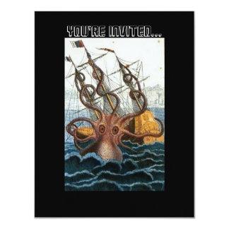 Steampunk Vintage Victorian Giant Kraken Octopus 11 Cm X 14 Cm Invitation Card