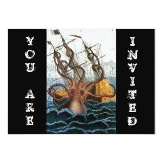 Steampunk Vintage Victorian Giant Kraken Octopus 13 Cm X 18 Cm Invitation Card