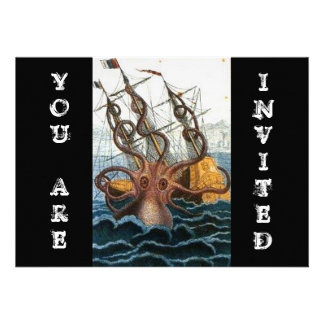 Steampunk Vintage Victorian Giant Kraken Octopus Custom Invite