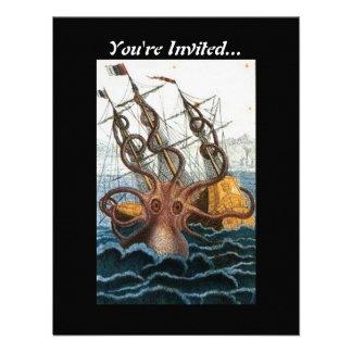 Steampunk Vintage Victorian Giant Kraken Octopus Custom Invitation