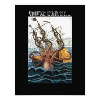 Steampunk Vintage Victorian Giant Kraken Octopus Invitations