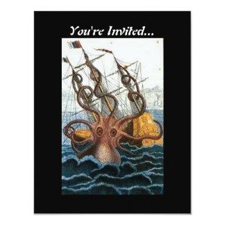 Steampunk Vintage Victorian   Kraken Giant Octopus Card