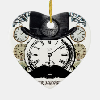 steampunk watch, bowler and moustache ceramic heart decoration