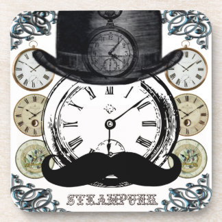 steampunk watch, bowler and moustache coaster
