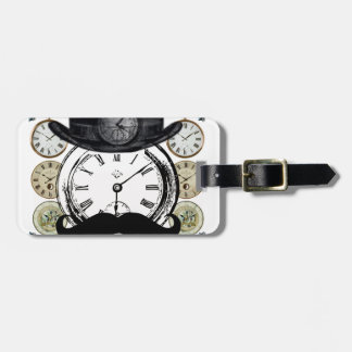 steampunk watch, bowler and moustache luggage tag