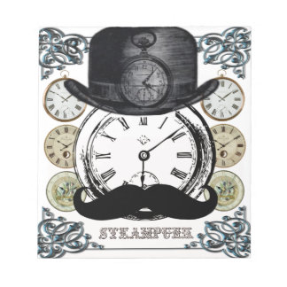 steampunk watch, bowler and moustache notepad