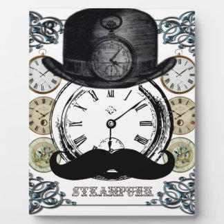 steampunk watch, bowler and moustache plaque