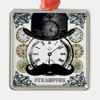 steampunk watch, bowler and moustache Silver-Colored square decoration