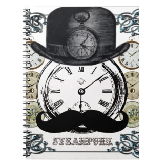 steampunk watch, bowler and moustache spiral notebooks