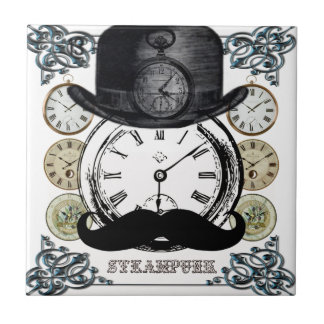 steampunk watch, bowler and moustache tile