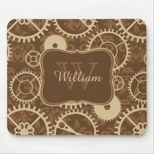 Steampunk watch gear and damask pattern Monogram Mouse Pads