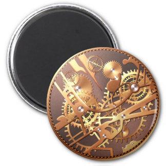 steampunk watch gears 6 cm round magnet