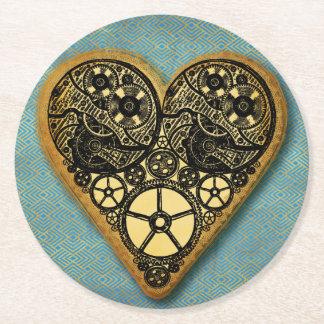 Steampunk Wedding Gears Round Paper Coaster