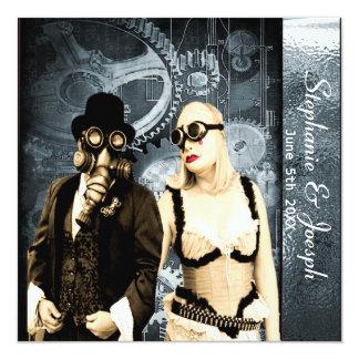"""steampunk wedding invitation 5.25"""" square invitation card"""