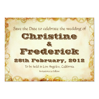 Steampunk Wedding, save the date announcement