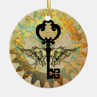Steampunk Winged Key and Cog Wheel Christmas Ornament
