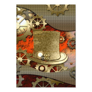 Steampunk witch hat clocks and gears 13 cm x 18 cm invitation card