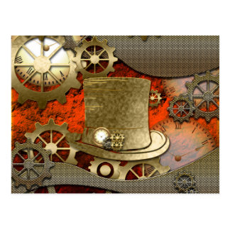 Steampunk witch hat clocks and gears postcard