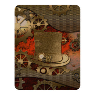 Steampunk witch wonderful hat 11 cm x 14 cm invitation card