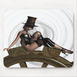STEAMPUNK WOMAN SITS ON GEAR MOUSE PAD
