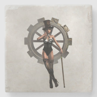 STEAMPUNK WOMAN WITH GEAR AND STEAM COASTER STONE BEVERAGE COASTER