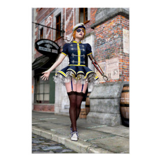 Steampunk Woman with Mechanical Arm Poster