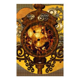 Steampunk, wonderful clock with gears custom stationery