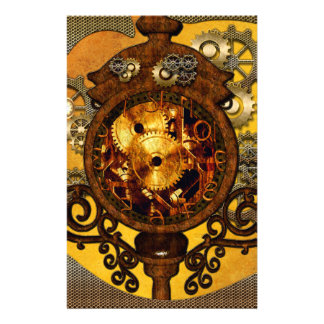 Steampunk, wonderful clock with gears stationery