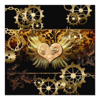 Steampunk, wonderful heart 13 cm x 13 cm square invitation card