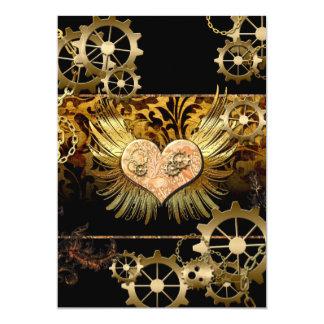 Steampunk, wonderful heart 13 cm x 18 cm invitation card