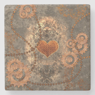 Steampunk, wonderful heart made of rusty metal stone beverage coaster
