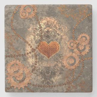 Steampunk, wonderful heart made of rusty metal stone coaster