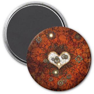 Steampunk, wonderful heart with clocks 7.5 cm round magnet