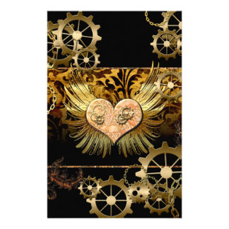 Steampunk, wonderful heart with gears in gold stationery design