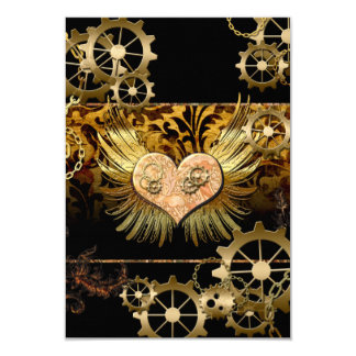 Steampunk, wonderful heart with golden gears 9 cm x 13 cm invitation card