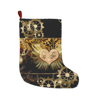 Steampunk, wonderful heart with golden gears large christmas stocking