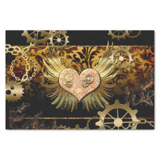 Steampunk, wonderful heart with golden gears tissue paper