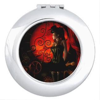 Steampunk, wonderful steampunk lady in the night travel mirrors