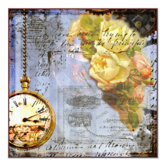 Steampunk & Yellow Roses Invite