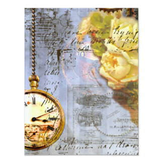 Steampunk & Yellow Roses Invite/Save the Date 11 Cm X 14 Cm Invitation Card