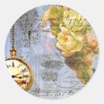 Steampunk & Yellow Roses Round Sticker