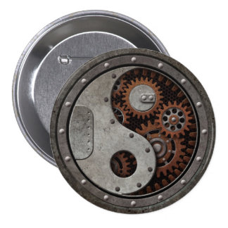 Steampunk Yin Yang 7.5 Cm Round Badge